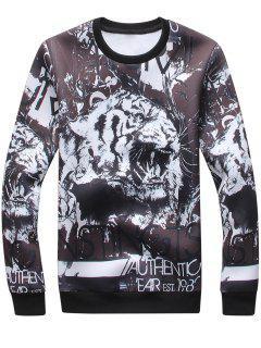 Crew Neck 3D Tiger Graphic Print Sweatshirt - Black L
