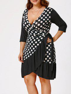 Polka Dot Print Plus Size Wrap Dress - White And Black 4xl