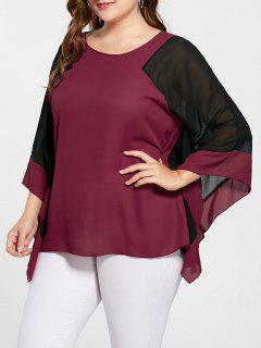 Plus Size Two Tone Batwing Sleeve Blouse - Red With Black 5xl