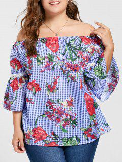 Plus Size Flare Sleeve Off The Shoulder Blouse - Blue 3xl