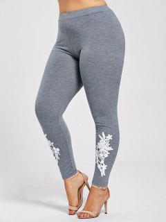Plus Size Appliqued Jersey Leggings - Gray 5xl