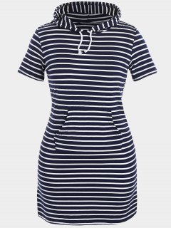 Striped Hooded Plus Size Bodycon Dress - Purplish Blue 4xl