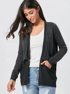 Drop Pockets Marled Cardigan - Black Grey 2xl