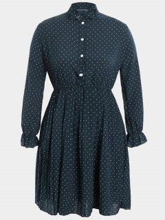 Plus Size Bow Polka Dot Dress - Cadetblue 3xl