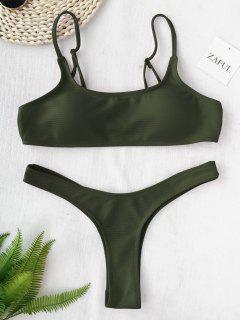 High Cut Thong Bikini - Army Green M