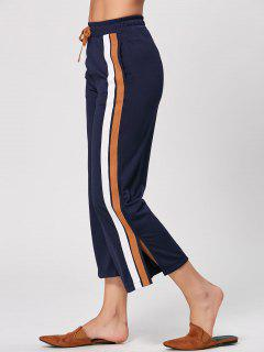 Double Striped Drawstring Pants - Cadetblue L