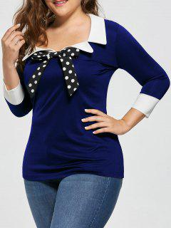 Plus Size Bow Tie Two Tone Blouse - Blue 3xl