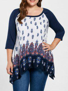 Plus Size Raglan Sleeve Paisley Top - Purplish Blue Xl