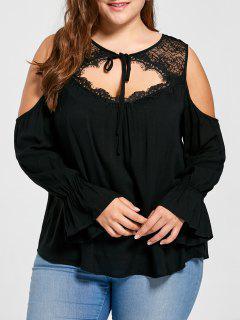 Plus Size Lace Yoke Cold Shoulder Blouse - Black 2xl