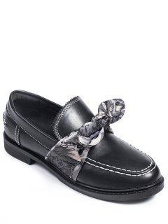 Stitching Bow PU Leather Flat Shoes - Black 38