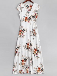 Floral Asymmetrical Wrap Maxi Dress - White L