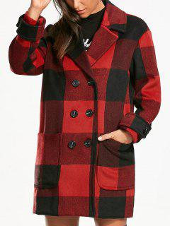 Tartan Double Breasted Pea Coat - Red With Black Xl