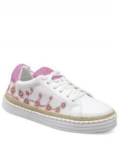 Faux Leather Embroidery Athletic Shoes - Pinkish Purple 38