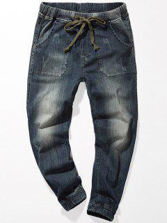 Jeans Délavé Avec Cordon De Serrage - Bleu 40