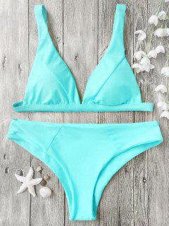 Padded Plunge Bikini Top And Bottoms - Cyan Xl