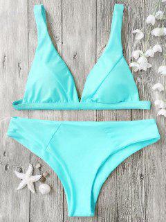 Padded Plunge Bikini Top And Bottoms - Cyan M