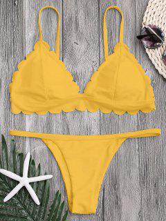 Low Waisted Scalloped Thong Bikini - Yellow M