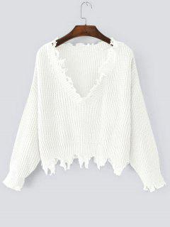 Loose Ripped V Neck Sweater - White