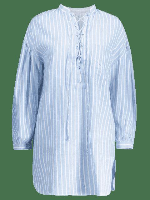 sale Plunging Neck Lace Up Striped Pocket Blouse - LIGHT BLUE S Mobile