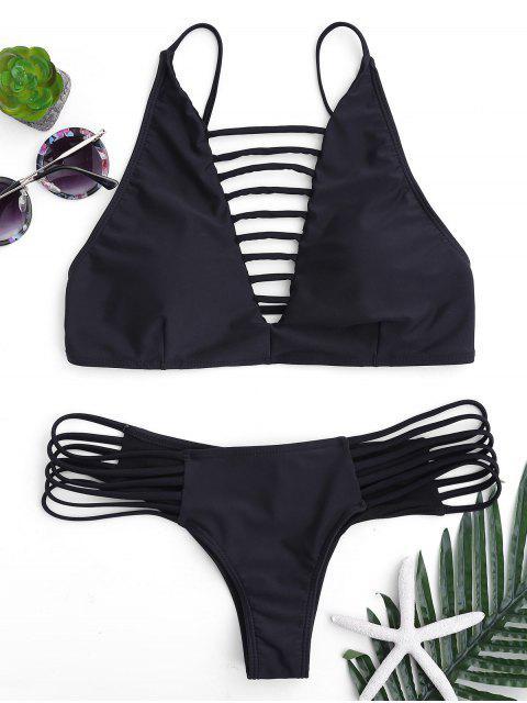 trendy Cutout Strappy Bikini Set - BLACK L Mobile