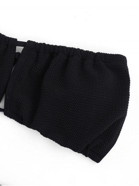 fancy Textured Bandeau Bikini Set - BLACK L Mobile