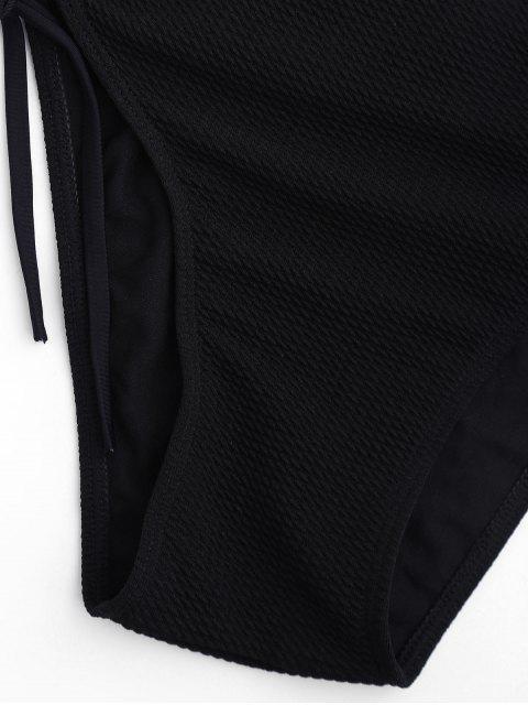 unique Textured Bandeau Bikini Set - BLACK M Mobile