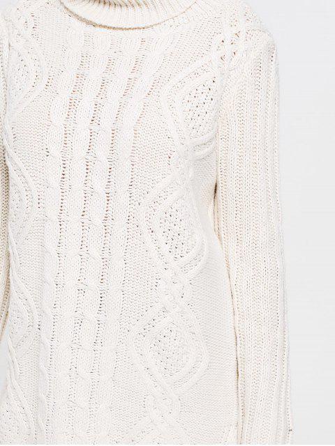 women Side Slit Turtleneck Cable Knit Sweater - BEIGE ONE SIZE Mobile