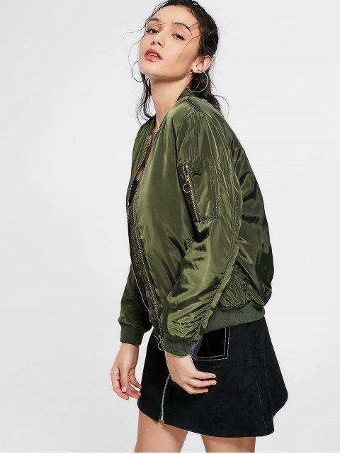 online Zip Up Invisible Pockets Bomber Jacket - ARMY GREEN L Mobile