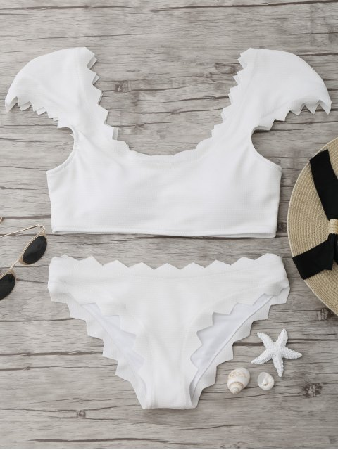 latest Textured Scalloped Bikini Set - WHITE M Mobile