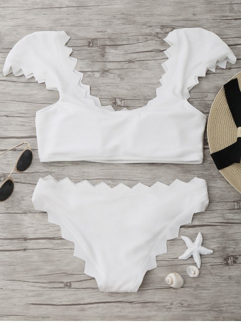 trendy Textured Scalloped Bikini Set - WHITE S Mobile