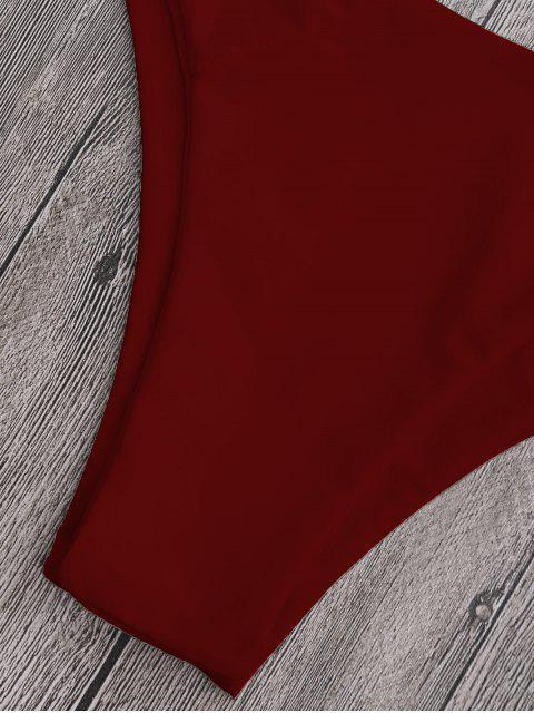 womens High Cut Cross Back Thong Bikini - DEEP RED M Mobile