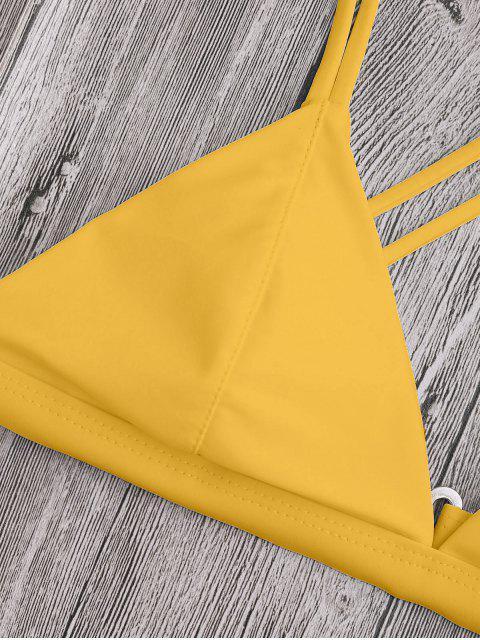 women's High Cut Cross Back Thong Bikini - YELLOW L Mobile