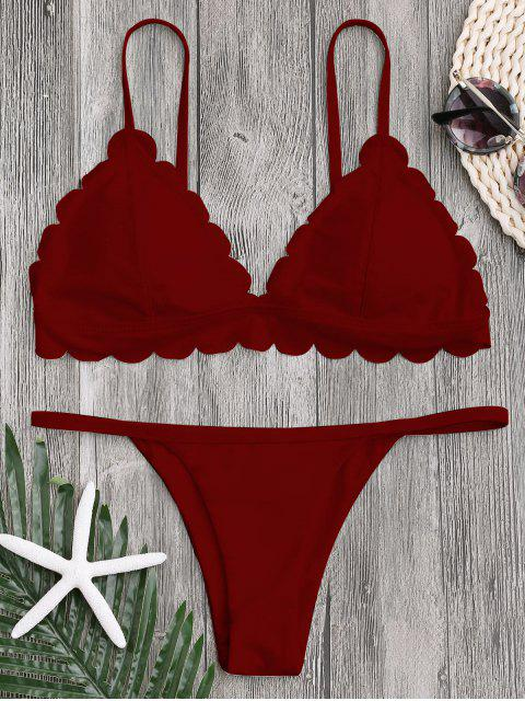 shop Low Waisted Scalloped Thong Bikini - DEEP RED L Mobile
