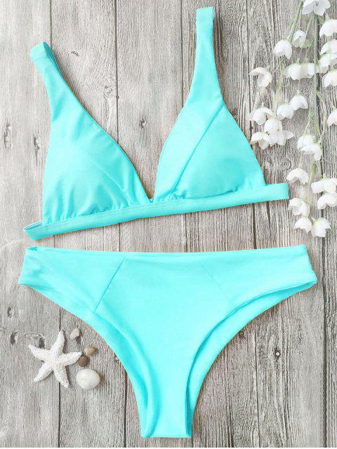 unique Padded Plunge Bikini Top and Bottoms - CYAN L Mobile