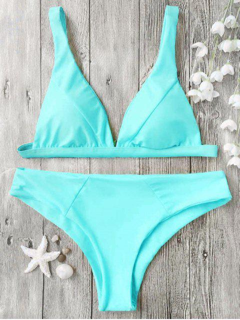 affordable Padded Plunge Bikini Top and Bottoms - CYAN S Mobile