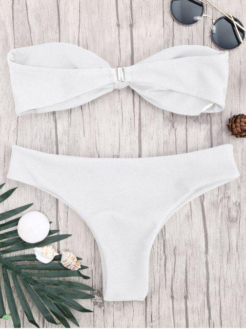 buy Padded Knotted Bandeau Bikini Set - WHITE L Mobile