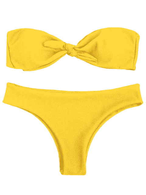 new Padded Knotted Bandeau Bikini Set - YELLOW S Mobile
