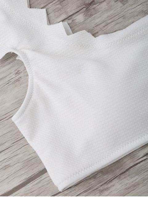 hot Textured Scalloped Bikini Set - WHITE L Mobile