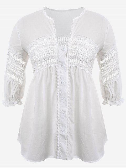 shops Crochet Panel Plus Size Laser Cut Blouse - WHITE 5XL Mobile