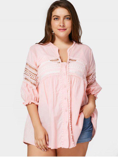 Blouse Découpée en Crochet Grande Taille - Rose  2XL Mobile