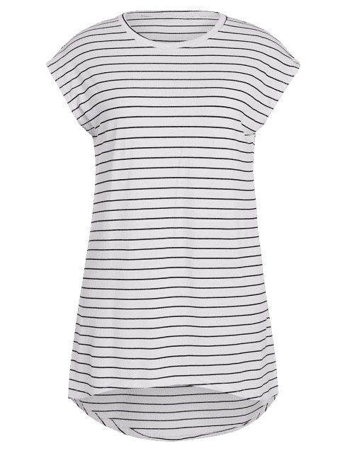 Robe à rayures haute et basse taille - Blanc 3XL Mobile