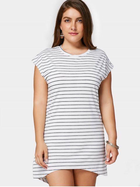 latest Striped High Low Plus Size Dress - WHITE 2XL Mobile