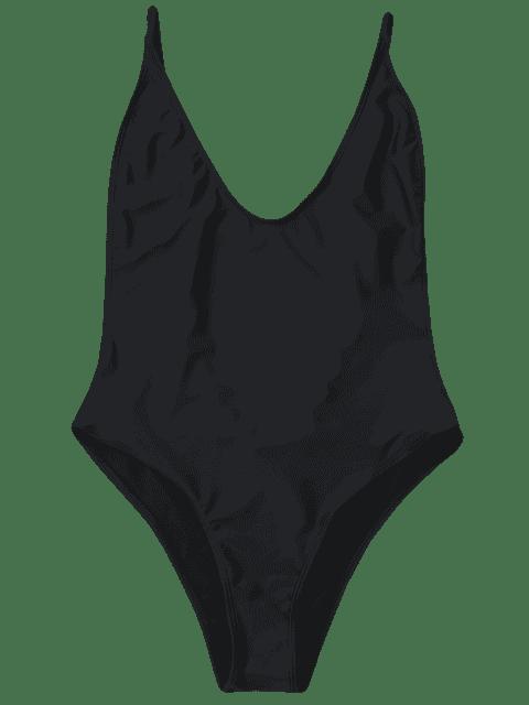 affordable Plus Size High Cut Swimsuit - BLACK 4XL Mobile