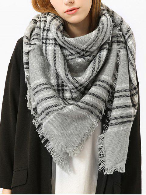 Karierter Schal mit Quaste - Grau  Mobile