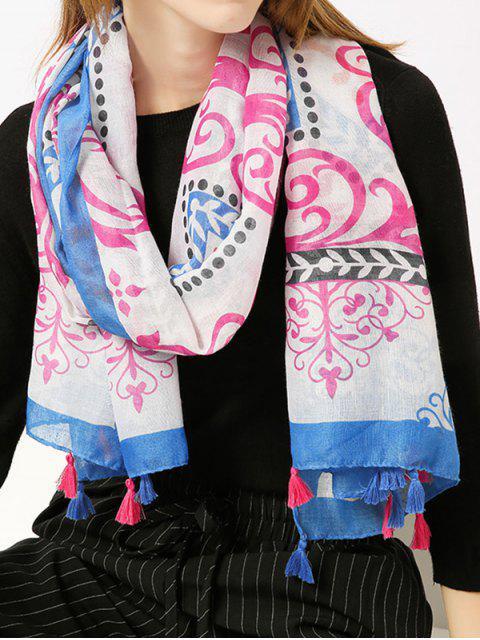 Retro Ombre Floral Printed Tassels Shawl Bufanda - Azul  Mobile