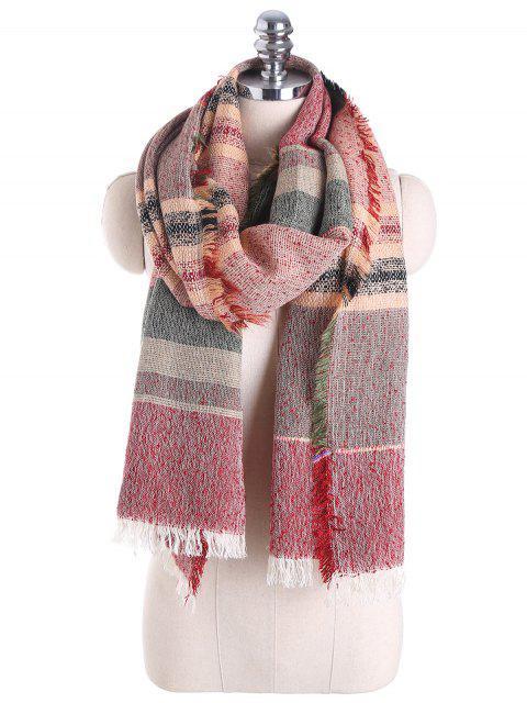 Schal aus Baumwollemischung mit Quaste Saum und Karomuster - Rot  Mobile