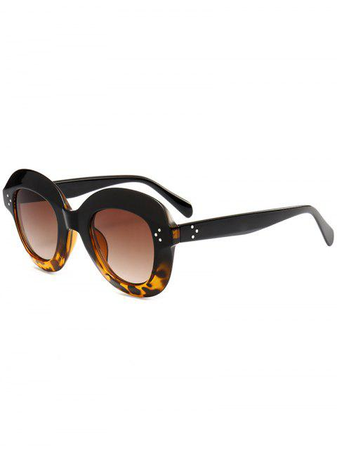 Wide Frame Ombre Street Snap Lunettes de soleil - Noir + Léopard  Mobile