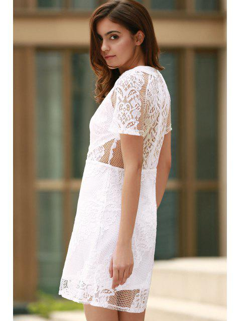 ladies Openwork Lace Hook White Dress - WHITE 2XL Mobile