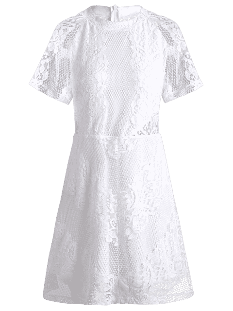 women Openwork Lace Hook White Dress - WHITE L Mobile