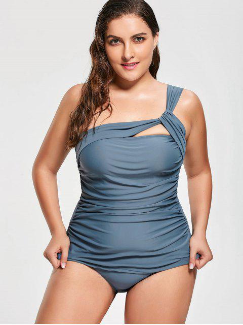 outfit One Shoulder Plus Size Tankini Set - BLUE 3XL Mobile